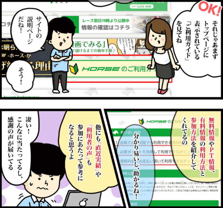 漫画でサイトの利用方法を紹介