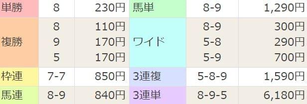 2020年4月4日中山09R 結果
