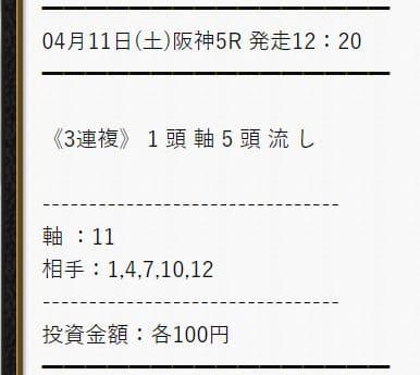 細川達成 予想 2020年4月11日阪神5レース