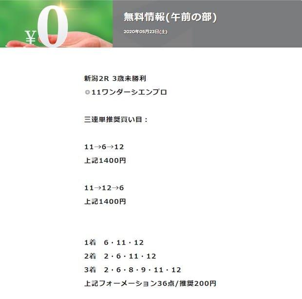 競馬予想サイト AXKEIBA(AX競馬) 予想 2020年5月23日新潟02R