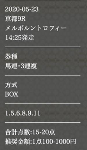 競馬予想サイト p4 予想 2020年5月23日京都09R