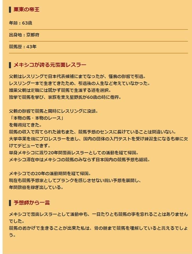 ゴールデン★スターズ 予想師 紹介